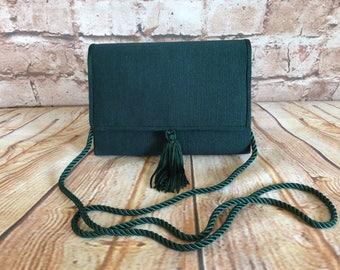 Vintage Green Grosgrain Small Shoulder Cross Body Bag Handbag Party Prom Ball Wedding c 1980s