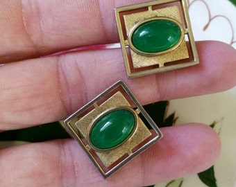 Vintage 1950 Gold Tone and Green Jadeite Glass Men's Cufflinks 3/4 inch