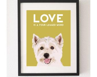 Westie Print, Westie Art, Westie Illustration, Dog Illustration, Dog Drawing, Dog Art