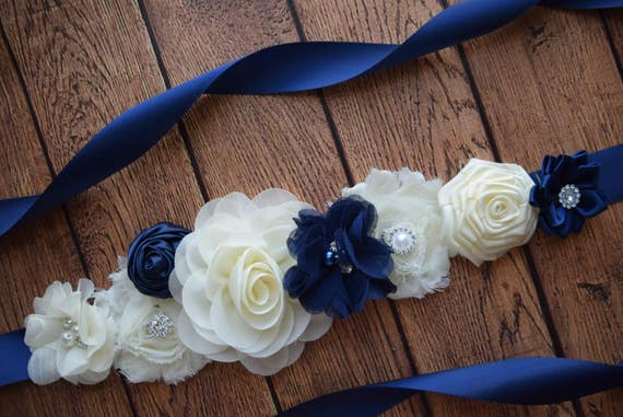 Maternity sash belt,Navy Ivory Sash , sash,  flower Belt, maternity sash, baby shower gift