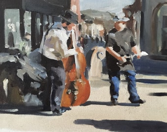 Buskers Painting Band Musicians Art PRINT Buskers - Art Print- from original painting by J Coates