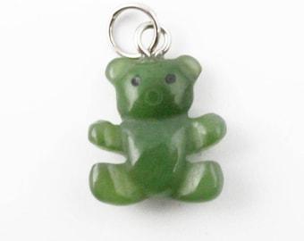 Canadian Nephrite Jade Charm, TEDDY BEAR