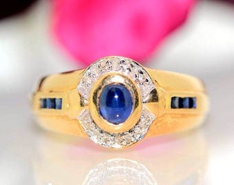 Estate 14k Yellow gold Natural Diamond & Cabochon Blue Sapphire Solitaire ring
