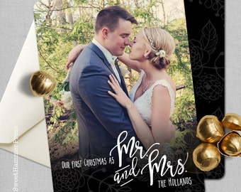 First Christmas as Mr and Mrs Photo Cards Photo Christmas Cards Photo Holiday Cards First Year Newlywed Christmas First Christmas Cards