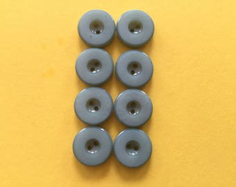 8 Vintage Plastic Buttons 1950's - Sew Through Aqua