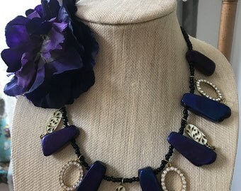 One of a kind amethyst flower necklace