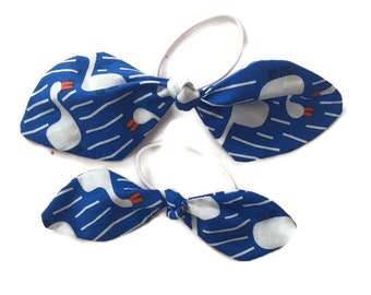 Set of 2 Girls Blue White Geese Fabric Hair Ties Bows