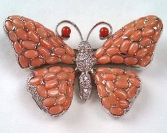 Sterling & coral butterfly brooch