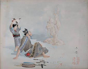 Japanese 'Snow Maiden with Stag' gouache painting