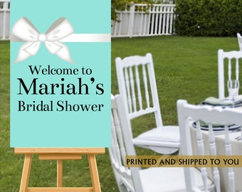 Bridal Shower Welcome Sign - Aqua Party Sign, Welcome Sign White Bow, Baby Shower Foam Board Sign, Reception Sign Board, Wedding Welcom Sign