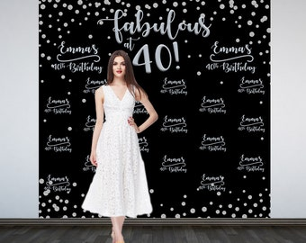 Fabulous at 40 Personalized Photo Backdrop -Silver Sparkle Photo Booth Backdrop- Milestone Birthday- Party  Backdrop, 40th Birthday Backdrop