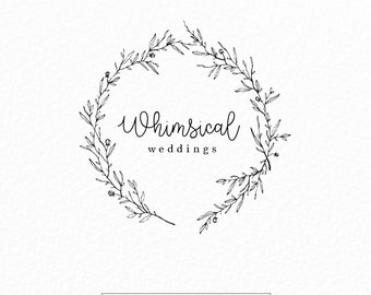 Whimsical Logo | Wedding Logo | Photography Logo | Event Planner Logo | Modern | Wreath | Floral Logo | Leaf Logo | Branding | Simple Logo
