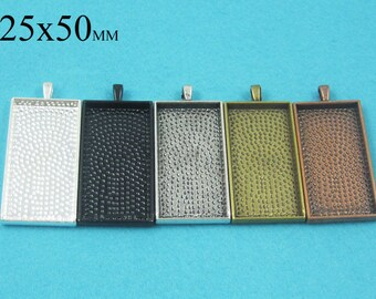 25 Pieces 25x50mm Rectangle Pendant Tray, 1x2 inch Rectangular Setting Tray, Rectangle Cabochon Setting