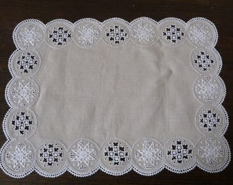 "Hand Embroidered Lefkara Cyprus Lace and Linen Place Mats - Set of 8 - 16 1/2"" x 12"" 42.5cms x 30cms"