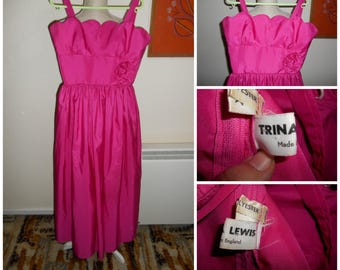Vintage Retro Fuchsia Pink Late 1970s 1980s Party Bridesmaid Prom Dress By Trina Lewis Made In England UK Size 8 10 ( XS S )