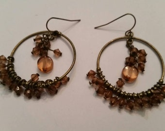 Antiqued Brass Earrings Pink Lucite Crystal Loop Dangle Costume Jewelry