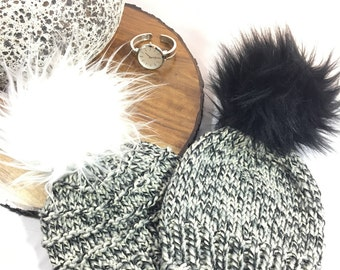 Childs Knit Toque with Faux Fur Pom Pom/ Teens grey toque/ Fun Fur Pompom/Black pompom White pompom