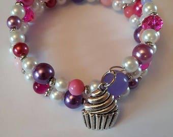 Cupcake Bracelet, Memory Wire Bracelet, Wrap Bracelet, Cupcake Cuff, Cupcake Jewelry, Beaded Bracelet, Childs Bracelet, Girls Bracelet