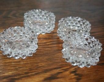 Cut Glass Salt Cellars / Salt Dippers / Set of 4