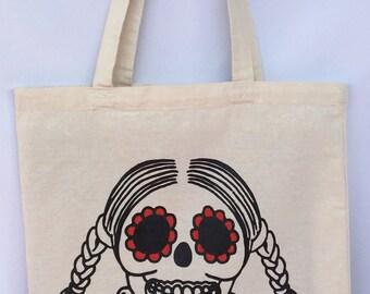 Sugar Skull Chilindrina Tote Bag. Nerd Sugar Skull Shoulder Bag. Calavera Nerd Canvas Bag. Gift Friendly.