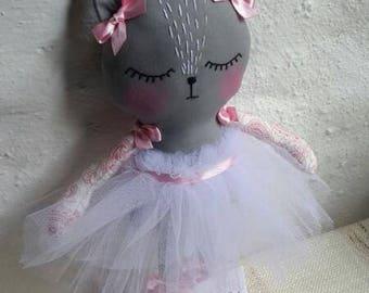 Cat rag doll ballerina, 100% handmade, 30 cm