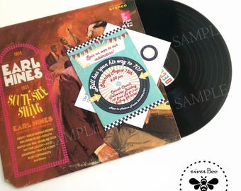 Old Fashioned Vinyl Record Party Invitation with matching envelopes / 50s Vintage Diner Party Invites with coordinating envelopes