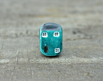 Seaside Cottage Bead, polymer clay house bead