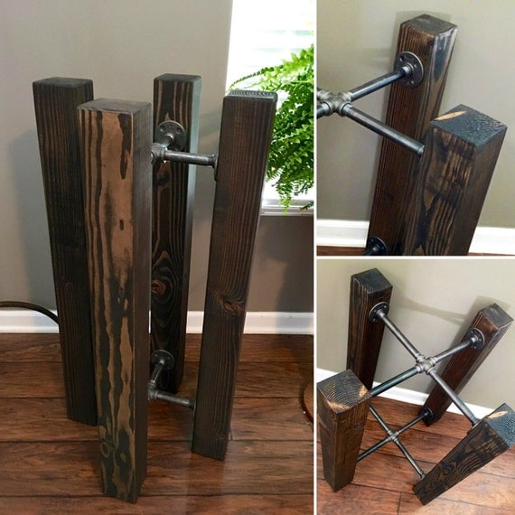 Like this item. 36 Tall TABLE BASE Wood Beam   Iron Pipe Round   Square