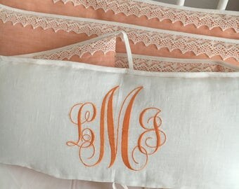peachy and ivory crib bumper from natural linen decorated with linen lace and monogram