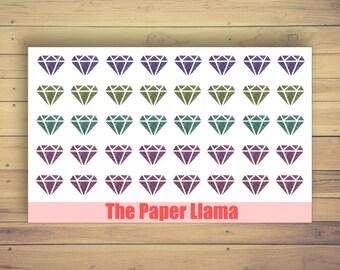 40 Glitter Diamond Deco Planner Stickers - 096