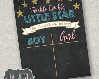 Twinkle Twinkle Little Star Gender Reveal sign - Cast Your Votes - INSTANT DOWNLOAD - 8x10 sign to tally votes