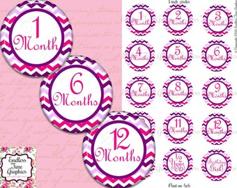 Baby Milestone Bottlecap Images. Pink Chevron Bottle Cap Images. 1-12 Months: Birthday Girl. Cupcake Toppers. Hair Bow Printable Circles 016