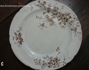 Brown Transferware Plate - C
