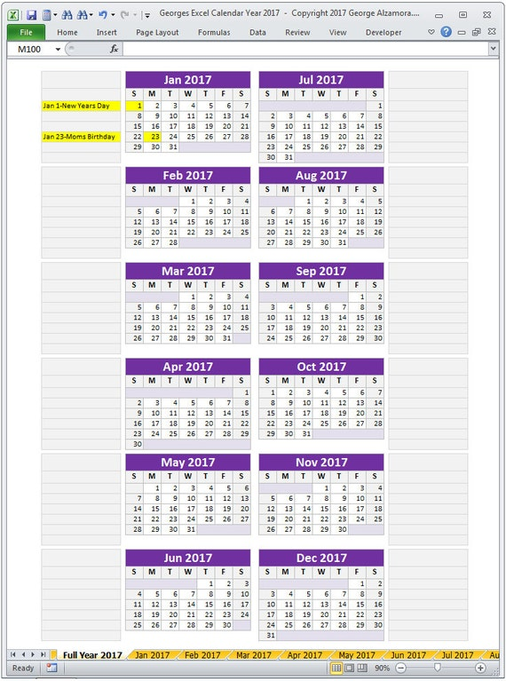 Excel Calendar Template  Monthly Calendar And
