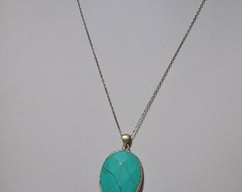 Vintage Sterling Silver 925 Necklace Turquoise Gemstone Pendant