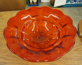 Beautiful Large Amberina Compote or Fruit Bowl