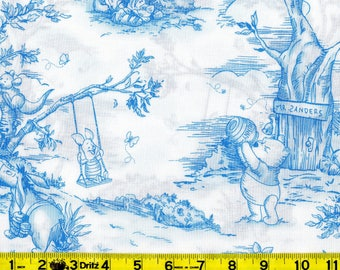 Winnie The Pooh Fabric, Blue and White Toile Print, Disney For Springs Industries Fabric #4655