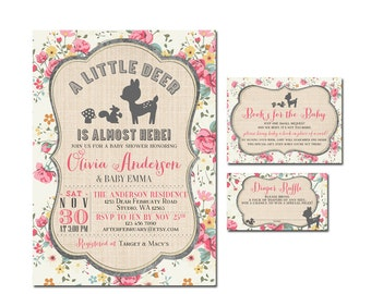 sale 3piecesuite girl woodland baby shower invitation printable invite