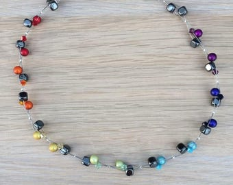 Rainbow beaded necklace, Hematite and Swarovski beads, Boho necklace, multi strand necklace, colourful necklace