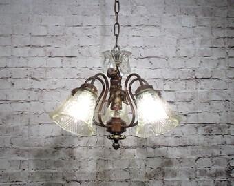 Antique Vintage Chandelier Down Light Cherub Glass Shades Restored