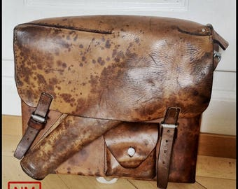 Vintage Swiss Army Leather Backpack for Flare Gun - Leather Rucksack for Flare Pistol - Made in Switzerland in 1940s - Absolutely Unique!