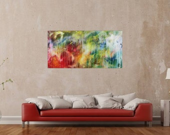 Original abstract artwork on canvas ready to hang 70x140cm #660