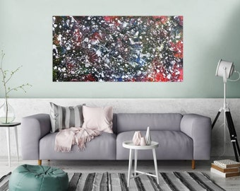 Original abstract artwork on canvas ready to hang 80x160cm #705