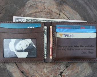 Mens Leather Wallet, Brown leather wallet, Bifold leather wallet, Mens leather wallet personalized, Monogram leather wallet, Wallet / vd77