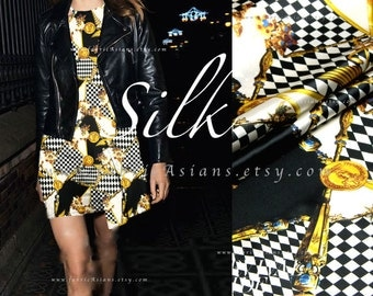Black White Yellow Checked Silk Fabric Gold Chain Coins