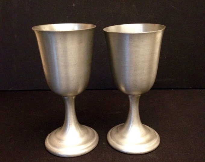 Storewide 25% Off SALE Wonderful Set of Two Vintage Americana Pewter Red Wine Goblets Featuring Eagle Stamping With Classical Pedestal Desig