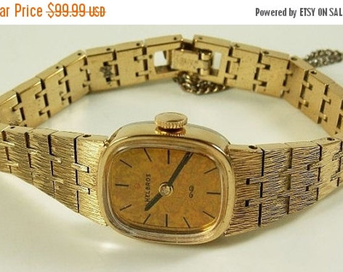 Storewide 25% Off SALE Lovely Vintage Helbros Gold Nugget Style Mechanical Designer Timepiece Featuring a Brushed Gold Finish and Safety Cha