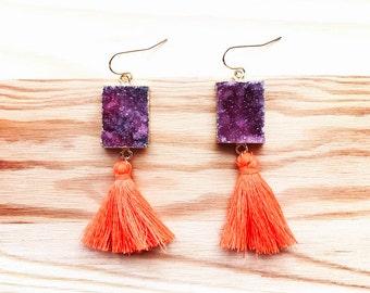 HYPOALLERGENIC EARRINGS Druzy Earrings Tassel Earrings - Purple and Orange