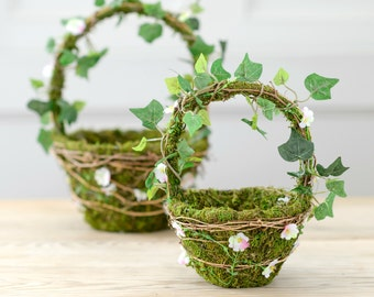 Artificial Woodland Moss & Daisy Flower Girl Basket Set | Wedding Flower Girl Basket | Confetti Basket Hand Decorated