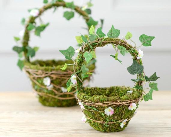 Flower Baskets For Weddings Uk : Artificial woodland moss daisy flower girl basket set